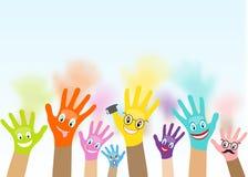 Samling av mångfärgade händer med leenden Royaltyfri Fotografi