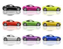 Samling av mångfärgade moderna bilar 3D Arkivbilder