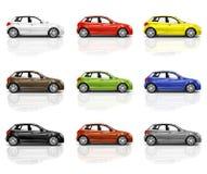 Samling av mångfärgade nya moderna bilar 3D Royaltyfri Foto