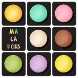 Samling av macaron Vektor Illustrationer