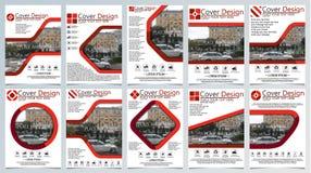 Samling av mallen för tio broschyr för årlig teknologi släkta reposts, orientering för vektordesign a4 med utrymme för text och f Arkivbilder