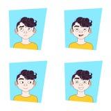 Samling av manansiktsuttryck Guy Different Emotions Set vektor illustrationer