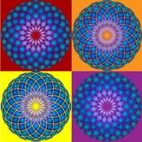 Samling av Mandala 4 seamless modell Royaltyfri Bild