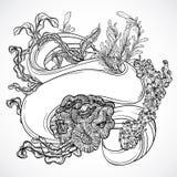 Samling av marin- växter, havsväxt, koraller med bandbanret Tappninguppsättning av svartvit hand dragen marin- flora Arkivbild