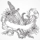 Samling av marin- växter, det medeltida svärdet och bandbanret Arkivfoton