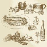 Samling av mat Arkivbild