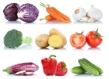 Samling av mat för morötter för grönsakspansk peppartomater ny Arkivbilder
