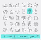 Samling av mat- och drycksymboler stock illustrationer