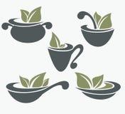 Samling av matlagningutrustning och organisk mat s Royaltyfri Bild