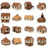 Samling av medeltida hus Royaltyfri Fotografi