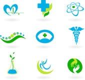 Samling av medicinska symboler stock illustrationer