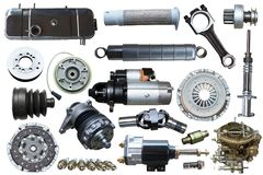 Samling av mekaniska auto delar Royaltyfria Foton