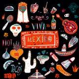 Samling av mexicanska objekt vektor illustrationer