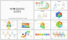 Samling av minimalist infographic designmallar Timelines, stångdiagram, jämförelse, jackett och pussel stock illustrationer