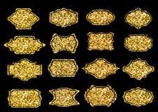 Samling av moderiktiga guld- gnistrandeformer Ställ in sunburstdesignbeståndsdelar Mest bra till salu klistermärke, prisetikett,  Royaltyfri Bild