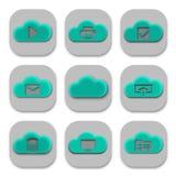 Samling av moderna molnApp-symboler och logoer Royaltyfri Fotografi