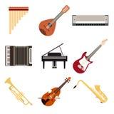 Samling av musikinstrument Arkivbild