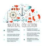 Samling av nautiska beståndsdelar i en halvcirkel Arkivfoton
