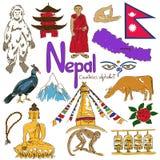 Samling av Nepal symboler Fotografering för Bildbyråer