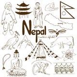 Samling av Nepal symboler Royaltyfri Fotografi