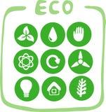 Samling av nio gröna eco-symboler Arkivbild