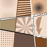 Samling av nio olika bakgrunder i stilen av popkonst med prickar, band, tecken och teckning Royaltyfria Bilder
