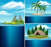 Samling av olika öar stock illustrationer