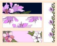 samling av olika blom- pappers- etiketter för annonser _ stock illustrationer