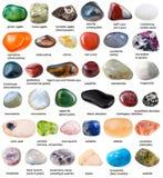 Samling av olika dråsade gemstones med namn Royaltyfria Bilder