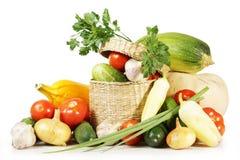 Samling av olika frukter och grönsaker som isoleras på vit Arkivbild