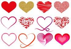 Samling av olika hjärtasymboler Royaltyfria Bilder