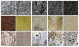Samling av olika sten- och väggbakgrunder Arkivbilder