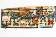 Samling av olika symboler med text, bilder, logoer Royaltyfria Bilder