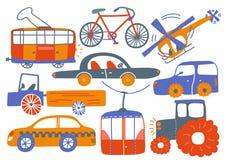 Samling av olika transportmedel, spårvagn, cykel, helikopter, kabelbil, traktor, lastbil, tecknad filmvektorillustration stock illustrationer