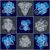 Samling av olikt dimensionellt geometriskt sh för vektorabstrakt begrepp vektor illustrationer