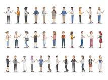 Samling av olikt illustrerat folk vektor illustrationer