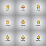 Samling av olje- droppe Logo Set Company Royaltyfria Foton