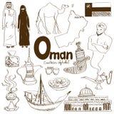 Samling av Oman symboler Arkivfoton