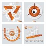 Samling av 4 orange färgmall-/diagram- eller websiteorientering Det kan vara nödvändigt för kapacitet av designarbete Arkivfoto