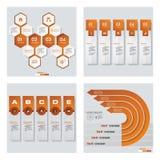 Samling av 4 orange färgmall-/diagram- eller websiteorientering Det kan vara nödvändigt för kapacitet av designarbete Fotografering för Bildbyråer