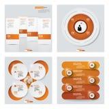 Samling av 4 orange färgmall-/diagram- eller websiteorientering Det kan vara nödvändigt för kapacitet av designarbete Arkivbild