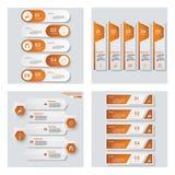 Samling av 4 orange färgmall-/diagram- eller websiteorientering Det kan vara nödvändigt för kapacitet av designarbete Royaltyfria Bilder