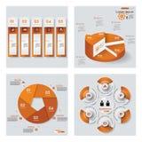 Samling av 4 orange färgmall-/diagram- eller websiteorientering Det kan vara nödvändigt för kapacitet av designarbete Arkivfoton