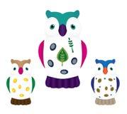 Samling av owls Royaltyfria Foton