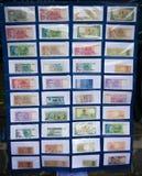 Samling av pappers- pengar för Indonesien ` som s visas i ett museumfoto som tas i Bogor Indonesien royaltyfria foton