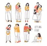 Samling av par av att krama eller att kela folk - romantiker blir partner med, vänner, husdjur och ägare, föräldrar och ungar Upp vektor illustrationer