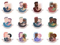Samling av par i kramar royaltyfri illustrationer