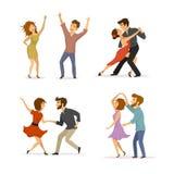 Samling av par som dansar tango, vridningen, att klubba för disko och romantisk dans stock illustrationer