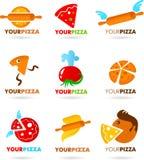 Samling av pizzalogoer Fotografering för Bildbyråer