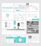 Samling av plana websitemallbeståndsdelar för affärsföretag med begreppssymboler och baner royaltyfri illustrationer